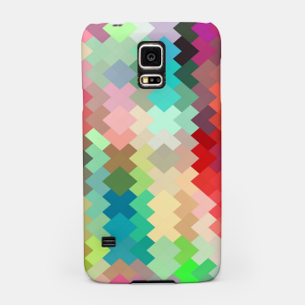 Thumbnail image of geometric square pixel pattern abstract in red blue green yellow Samsung Case, Live Heroes