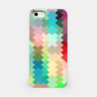 Thumbnail image of geometric square pixel pattern abstract in red blue green yellow iPhone Case, Live Heroes