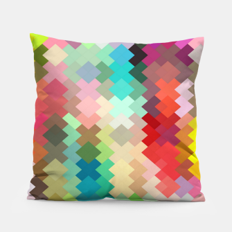Thumbnail image of geometric square pixel pattern abstract in red blue green yellow Pillow, Live Heroes