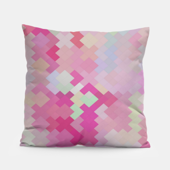 Thumbnail image of geometric square pixel pattern abstract in pink Pillow, Live Heroes