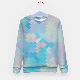 Thumbnail image of geometric square pixel pattern abstract in blue and pink Kid's sweater, Live Heroes