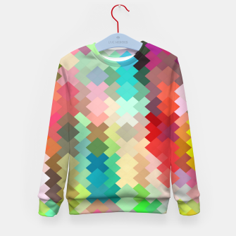 Thumbnail image of geometric square pixel pattern abstract in red blue green yellow Kid's sweater, Live Heroes