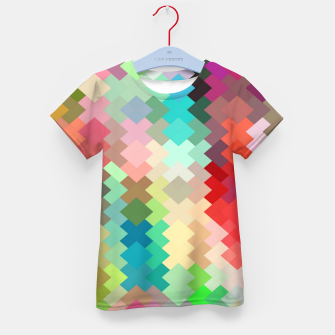 Thumbnail image of geometric square pixel pattern abstract in red blue green yellow Kid's t-shirt, Live Heroes