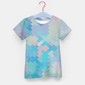 Thumbnail image of geometric square pixel pattern abstract in blue and pink Kid's t-shirt, Live Heroes