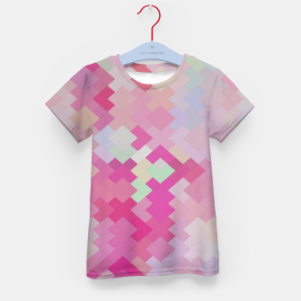 Thumbnail image of geometric square pixel pattern abstract in pink Kid's t-shirt, Live Heroes