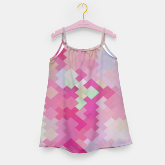 Thumbnail image of geometric square pixel pattern abstract in pink Girl's dress, Live Heroes