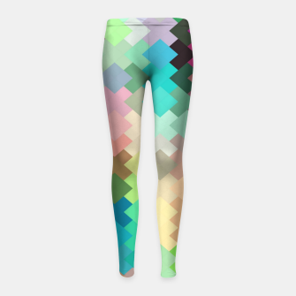 Thumbnail image of geometric square pixel pattern abstract in red blue green yellow Girl's leggings, Live Heroes