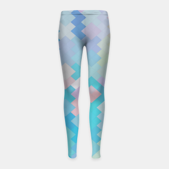 Thumbnail image of geometric square pixel pattern abstract in blue and pink Girl's leggings, Live Heroes