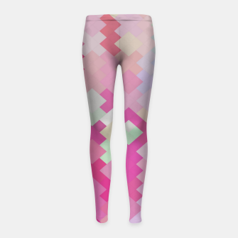 Thumbnail image of geometric square pixel pattern abstract in pink Girl's leggings, Live Heroes