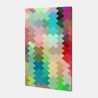Thumbnail image of geometric square pixel pattern abstract in red blue green yellow Canvas, Live Heroes