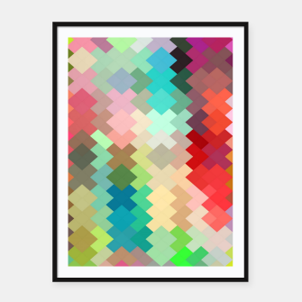 Thumbnail image of geometric square pixel pattern abstract in red blue green yellow Framed poster, Live Heroes
