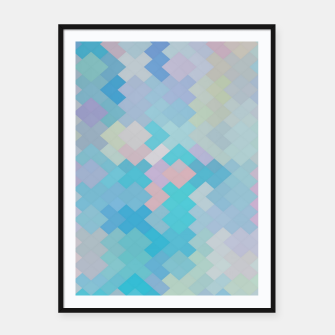 Thumbnail image of geometric square pixel pattern abstract in blue and pink Framed poster, Live Heroes