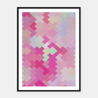 Thumbnail image of geometric square pixel pattern abstract in pink Framed poster, Live Heroes