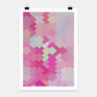 Thumbnail image of geometric square pixel pattern abstract in pink Poster, Live Heroes