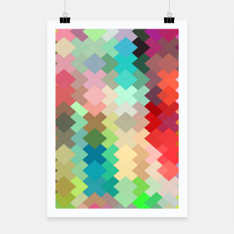 Thumbnail image of geometric square pixel pattern abstract in red blue green yellow Poster, Live Heroes