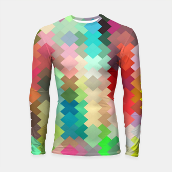 Thumbnail image of geometric square pixel pattern abstract in red blue green yellow Longsleeve rashguard , Live Heroes