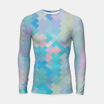 Thumbnail image of geometric square pixel pattern abstract in blue and pink Longsleeve rashguard , Live Heroes