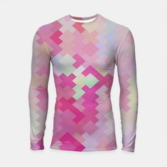 Thumbnail image of geometric square pixel pattern abstract in pink Longsleeve rashguard , Live Heroes