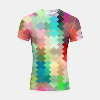 Thumbnail image of geometric square pixel pattern abstract in red blue green yellow Shortsleeve rashguard, Live Heroes