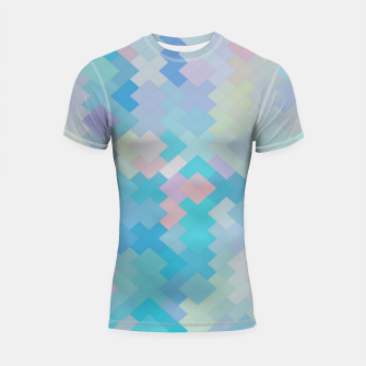 Thumbnail image of geometric square pixel pattern abstract in blue and pink Shortsleeve rashguard, Live Heroes