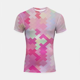 Thumbnail image of geometric square pixel pattern abstract in pink Shortsleeve rashguard, Live Heroes
