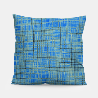 Thumbnail image of geometric square pattern drawing in blue Pillow, Live Heroes