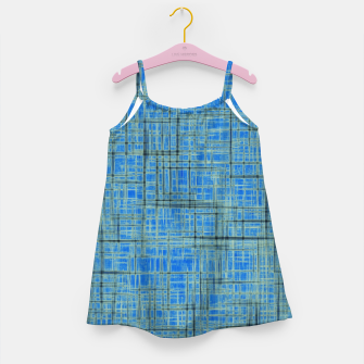 Thumbnail image of geometric square pattern drawing in blue Girl's dress, Live Heroes
