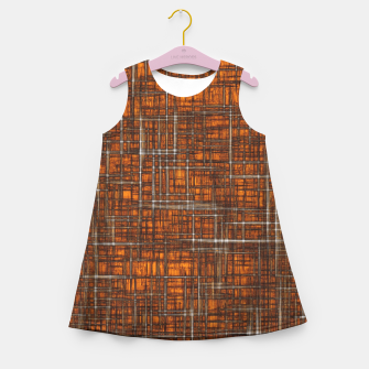 Thumbnail image of geometric square pattern drawing in orange brown Girl's summer dress, Live Heroes