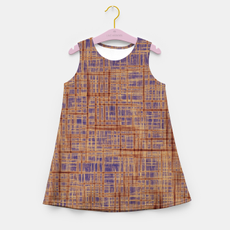Thumbnail image of geometric square pattern drawing in purple and brown Girl's summer dress, Live Heroes