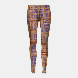 Thumbnail image of geometric square pattern drawing in purple and brown Girl's leggings, Live Heroes
