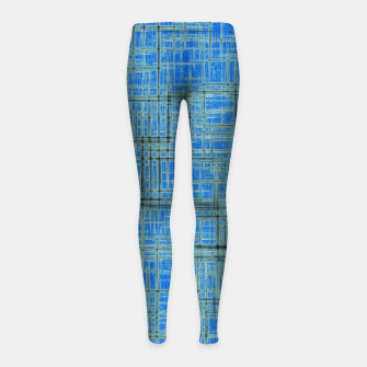 Thumbnail image of geometric square pattern drawing in blue Girl's leggings, Live Heroes