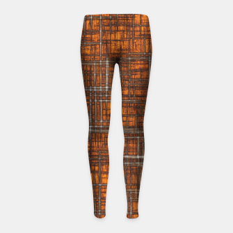 Thumbnail image of geometric square pattern drawing in orange brown Girl's leggings, Live Heroes