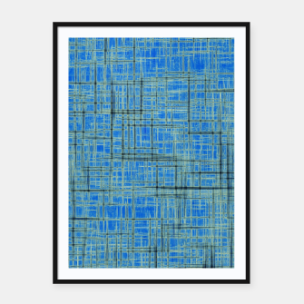 Thumbnail image of geometric square pattern drawing in blue Framed poster, Live Heroes