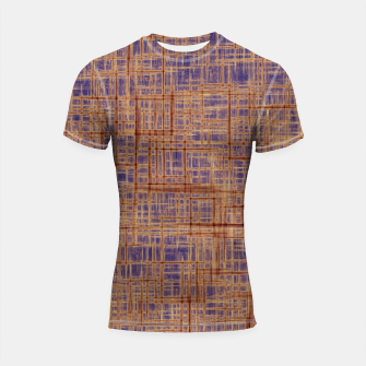 Thumbnail image of geometric square pattern drawing in purple and brown Shortsleeve rashguard, Live Heroes