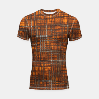 Thumbnail image of geometric square pattern drawing in orange brown Shortsleeve rashguard, Live Heroes