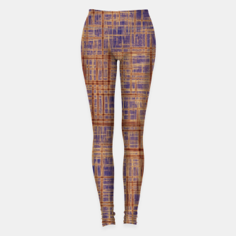 Thumbnail image of geometric square pattern drawing in purple and brown Leggings, Live Heroes