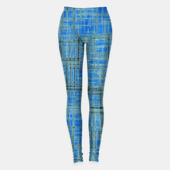Thumbnail image of geometric square pattern drawing in blue Leggings, Live Heroes