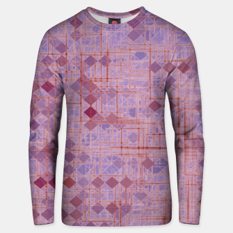 geometric square pixel pattern abstract in pink and purple Unisex sweater thumbnail image