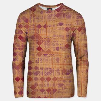 geometric square pixel pattern abstract in brown and pink Unisex sweater thumbnail image