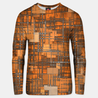 geometric square pattern abstract background in orange and brown Unisex sweater thumbnail image