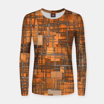 geometric square pattern abstract background in orange and brown Women sweater thumbnail image