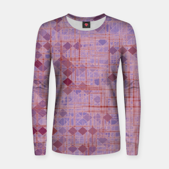 geometric square pixel pattern abstract in pink and purple Women sweater thumbnail image