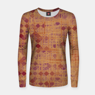 geometric square pixel pattern abstract in brown and pink Women sweater thumbnail image