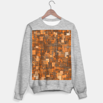 geometric square pattern abstract background in orange and brown Sweater regular thumbnail image