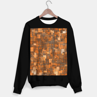 Thumbnail image of geometric square pattern abstract background in orange and brown Sweater regular, Live Heroes