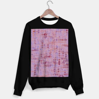 Thumbnail image of geometric square pixel pattern abstract in pink and purple Sweater regular, Live Heroes
