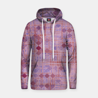 geometric square pixel pattern abstract in pink and purple Hoodie thumbnail image