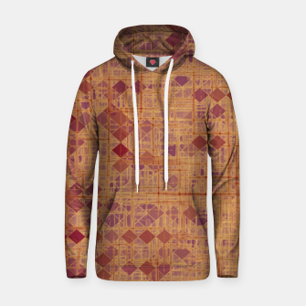 geometric square pixel pattern abstract in brown and pink Hoodie thumbnail image