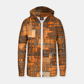geometric square pattern abstract background in orange and brown Zip up hoodie thumbnail image