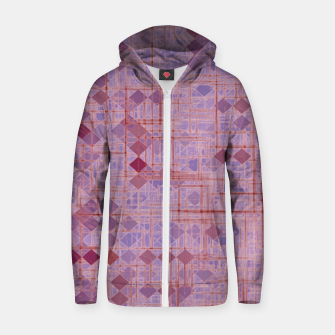 geometric square pixel pattern abstract in pink and purple Zip up hoodie thumbnail image
